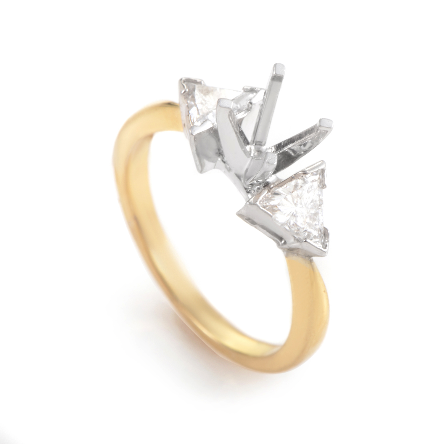 14K Multi-Tone Gold Diamond Engagement Ring Mounting