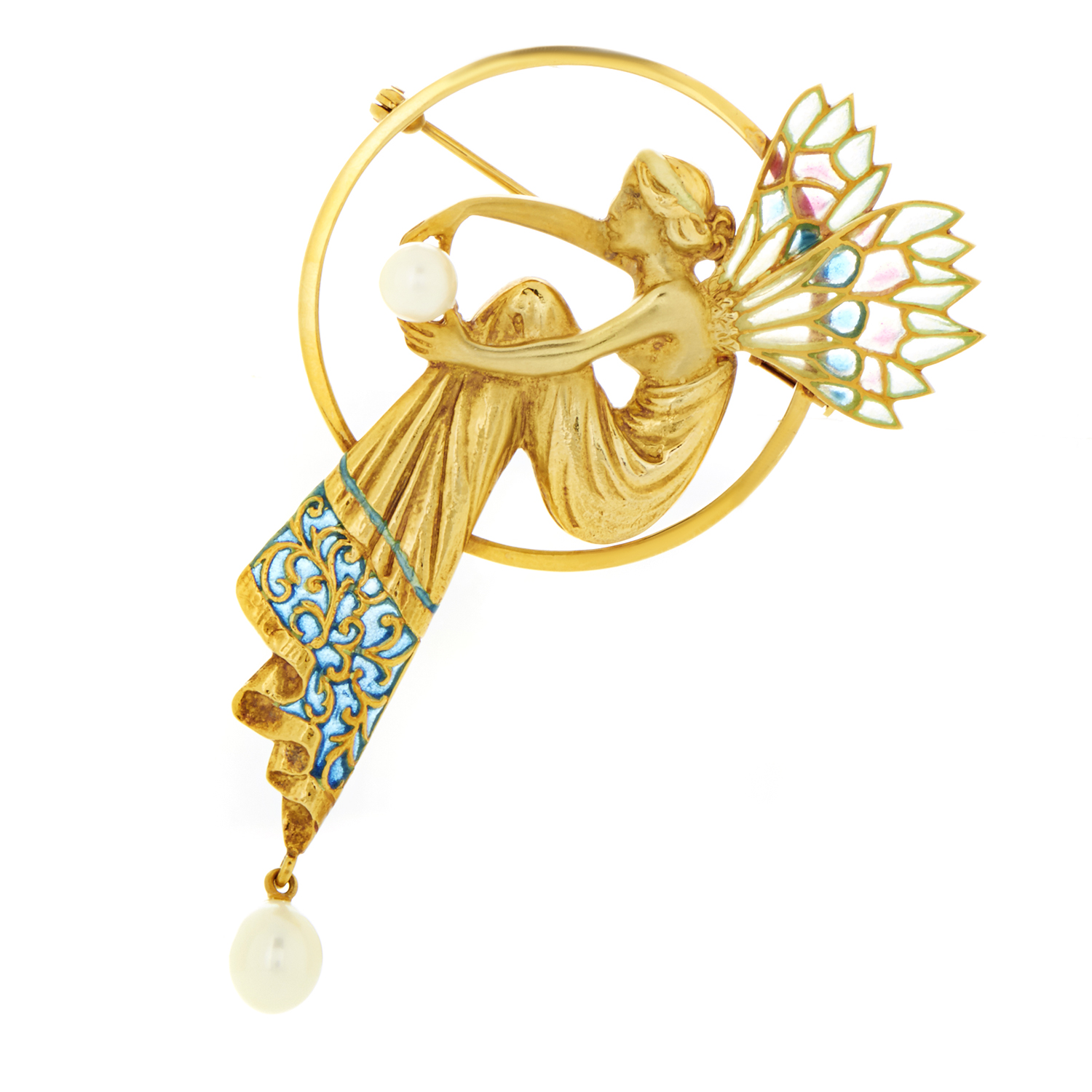 Masriera Women's Enameled 18K Yellow Gold & Pearl Pendant/Brooch