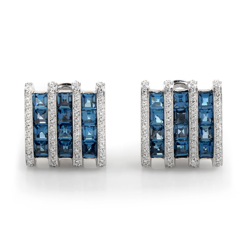 18K White Gold Topaz Diamond Earrings