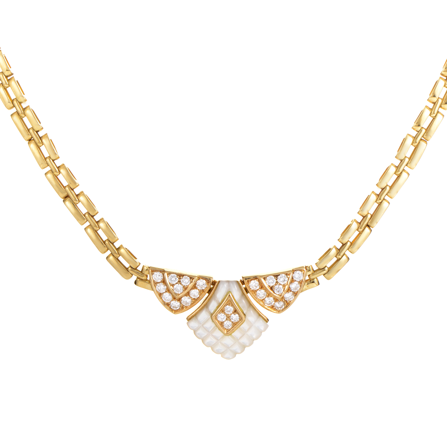 Mauboussin 18K Yellow Gold Mother of Pearl Diamond Necklace