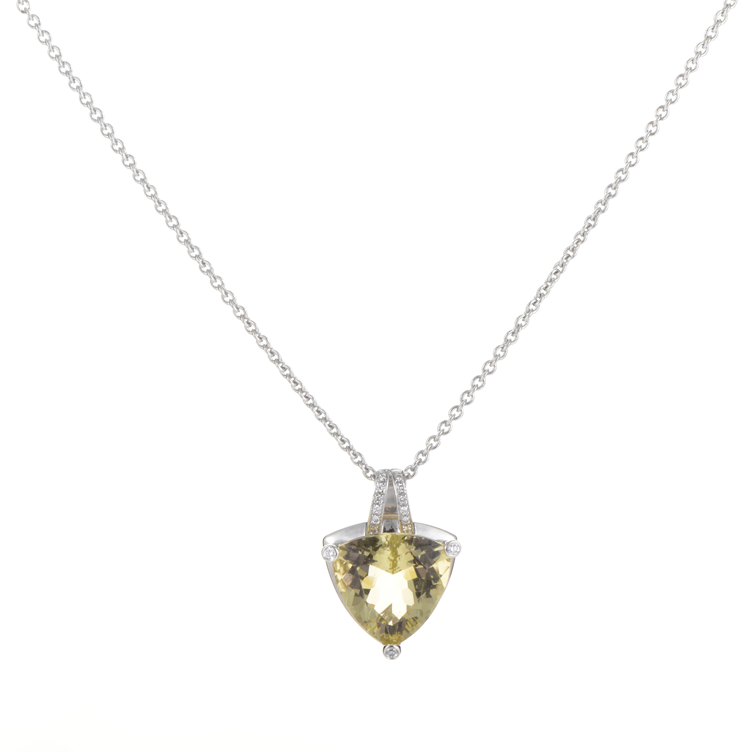 18K White Gold Lemon Quartz & Diamond Necklace