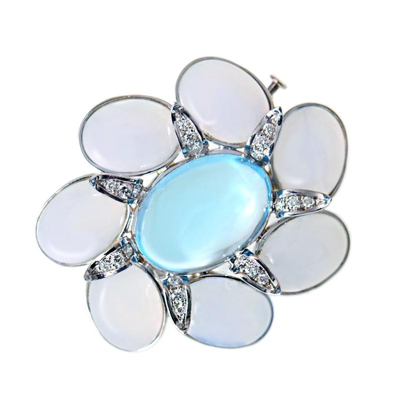 18K White Gold Diamond Topaz Pin
