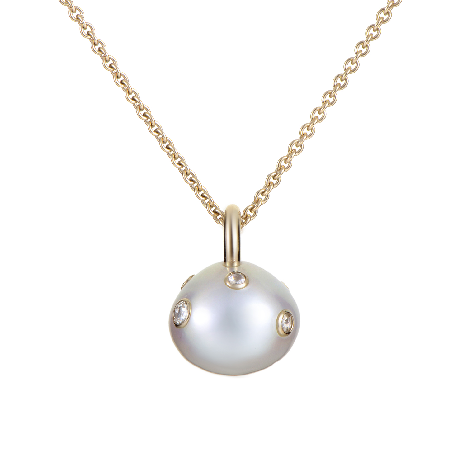 Women's 18K White Gold Diamond Studded Cultured Pearl Pendant Necklace