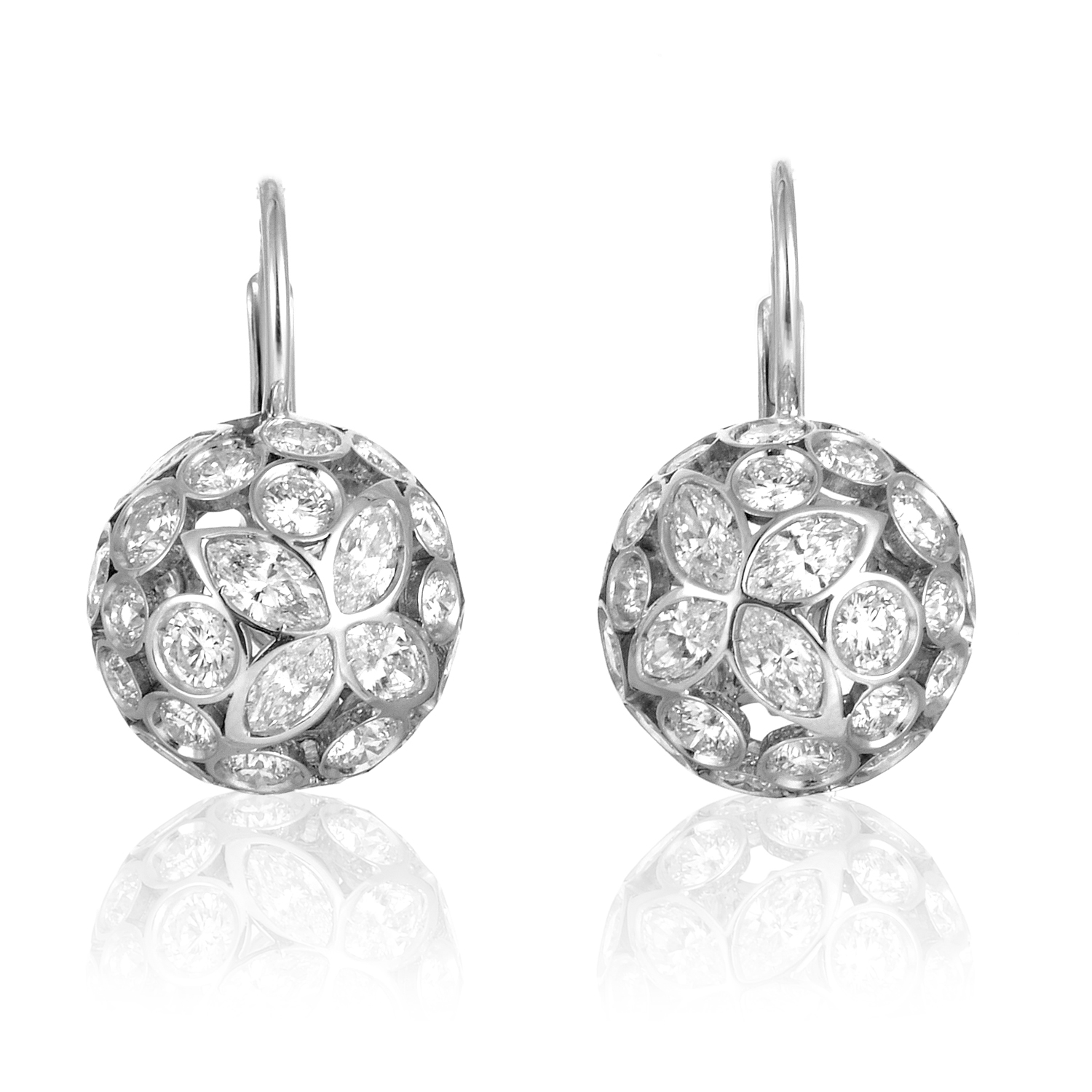 Women's 18K White Gold Floral Diamond Sphere Earrings