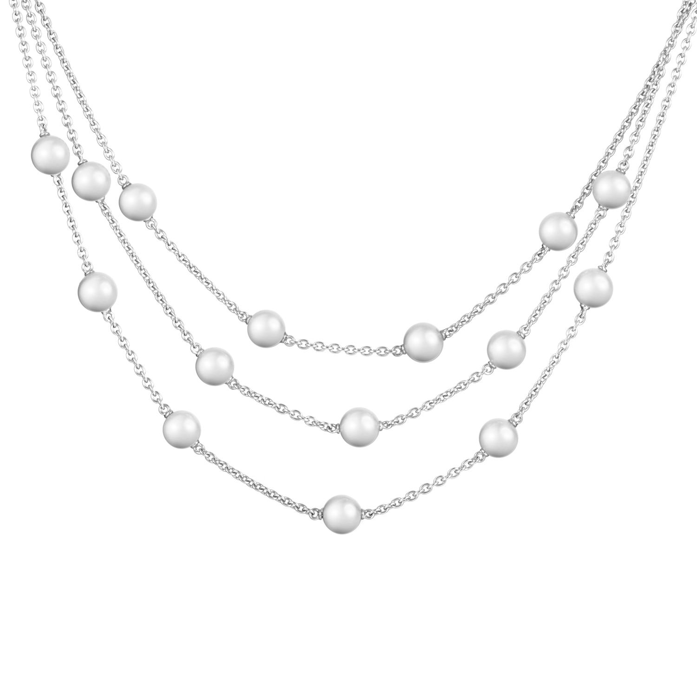 Mikimoto Women's 18K White Gold Three Strand Pearl Necklace