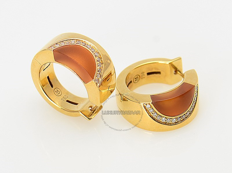 18K Yellow Gold Diamond Citrine Hoop Earrings