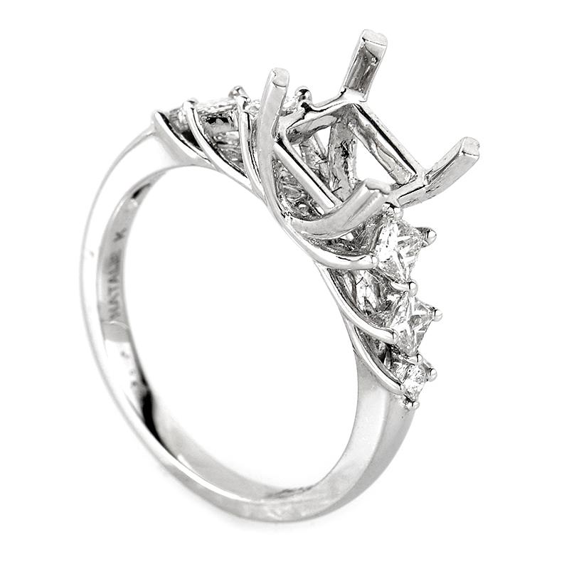 Belle 14K White Gold Diamond Engagement Ring Mounting NAKAG13-082712