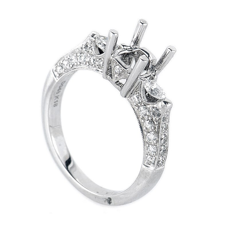 Trois Diamants White Gold Diamond Engagement Ring Mounting NAKAG18-082812