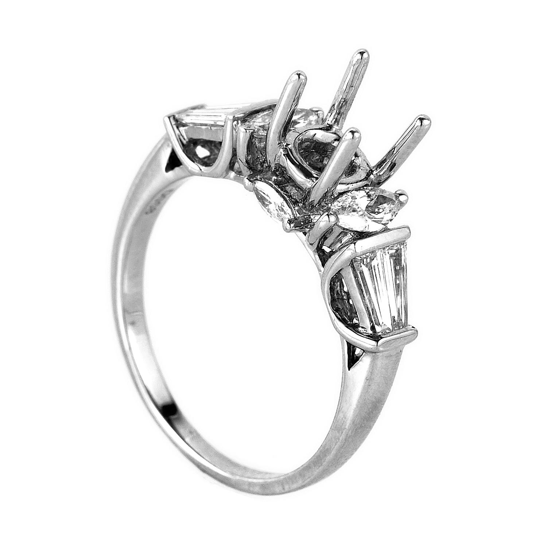 Trois Diamants 14K White Gold Engagement Ring Mounting NAKAG20-082812