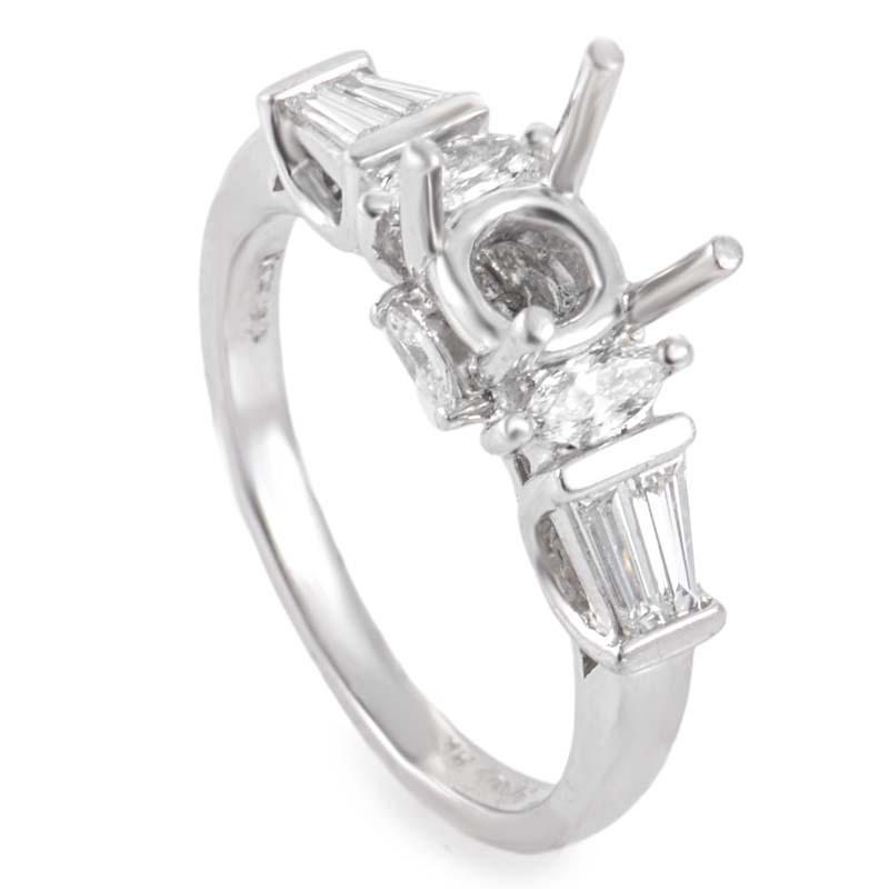 Platinum & Diamond Engagement Ring Mounting LBD-0649421NAK