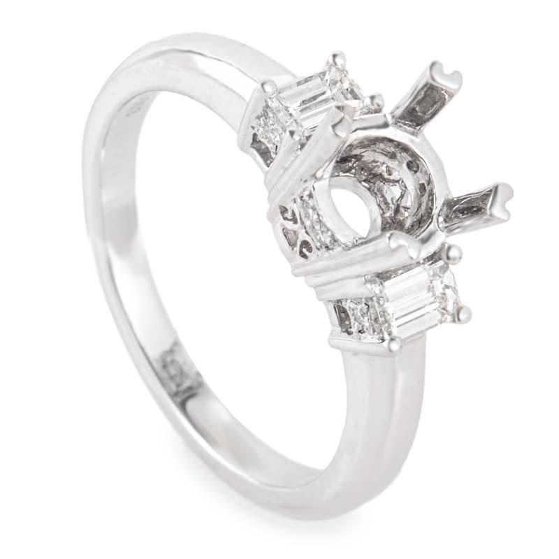 Platinum & Diamond Engagement Ring Mounting NAK02-073013