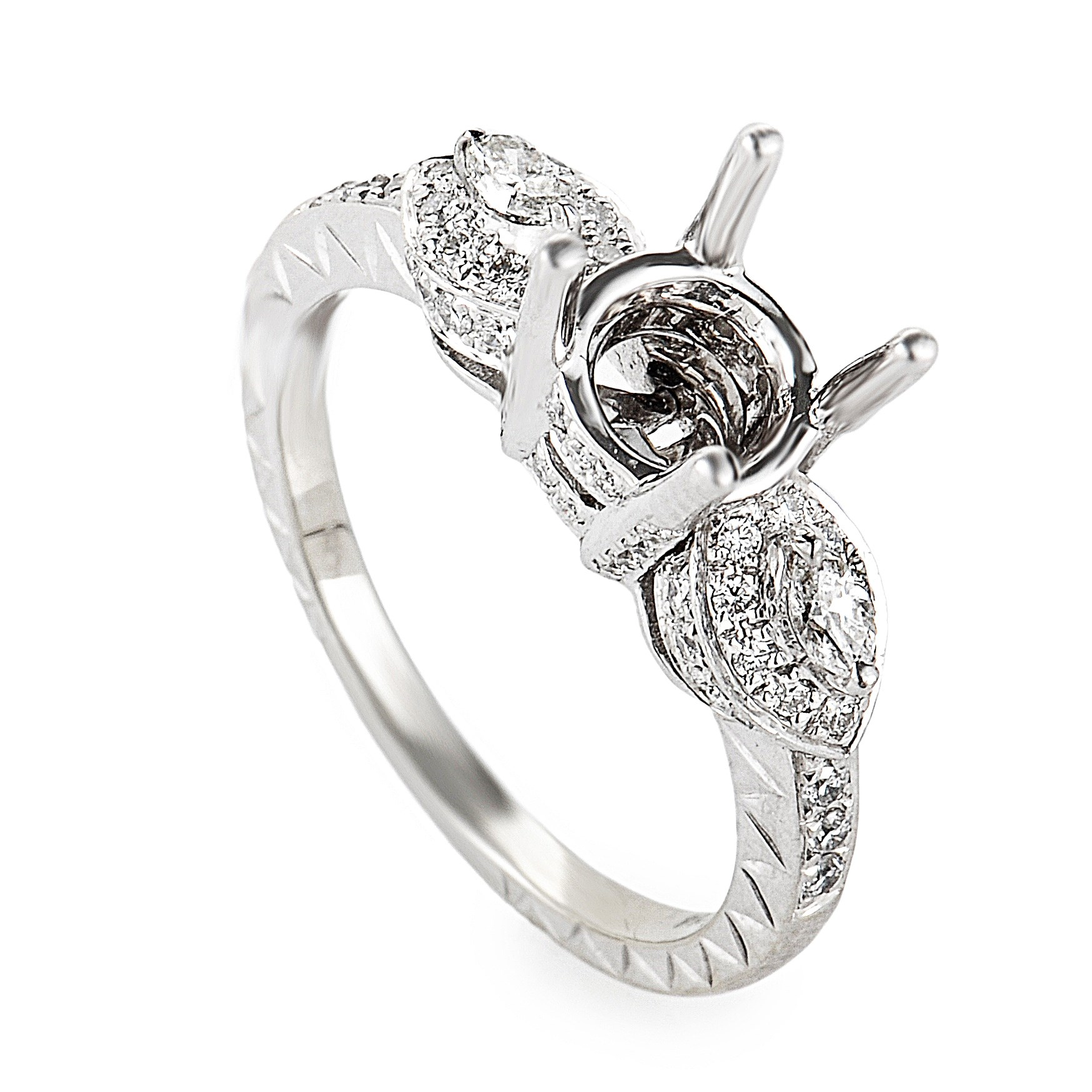 14K White Gold Diamond Mounting Ring NAK27-062813