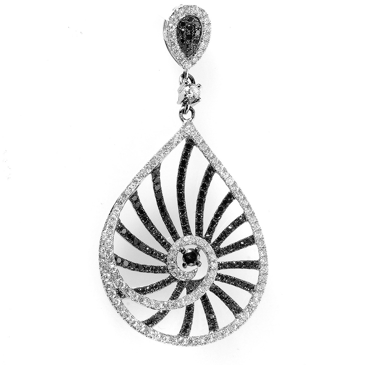 14K White Gold Black & White Diamond Openwork Teardrop Pendant