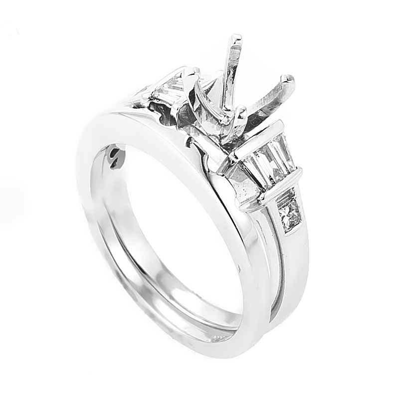 14K White Gold & Diamond Bridal Mounting Set SM4-051504W