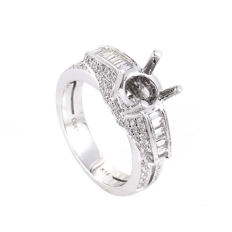 14K White Gold Diamond Mounting Ring SM4-082118