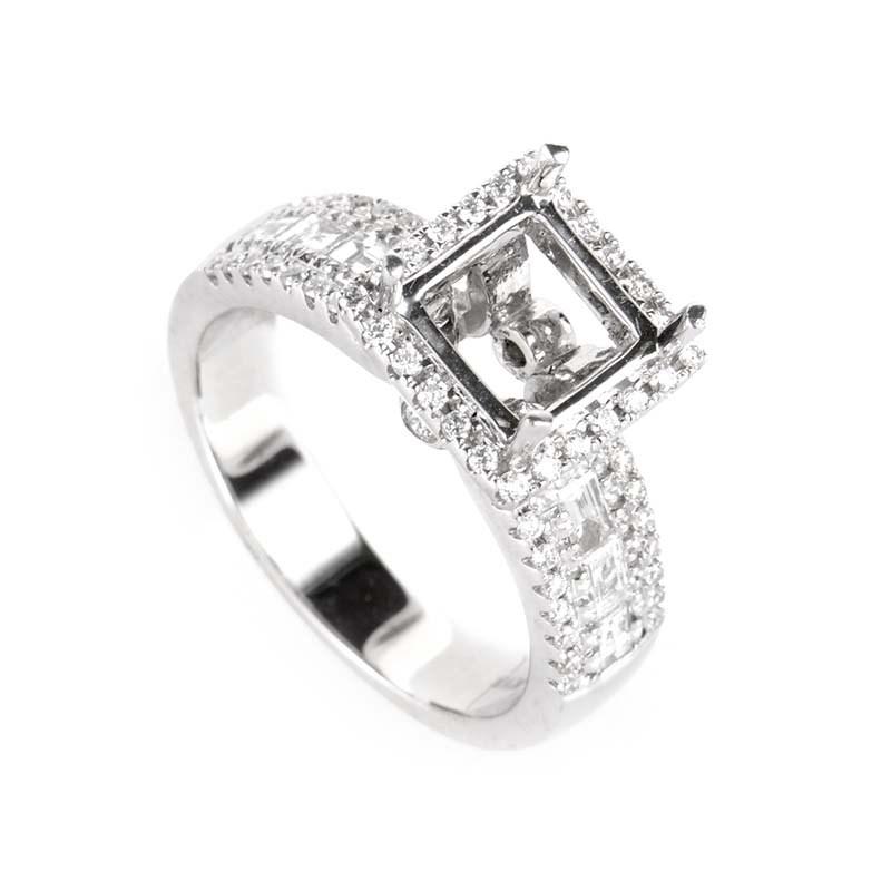 18K White Gold Diamond Engagement Ring Mounting SM8-12636