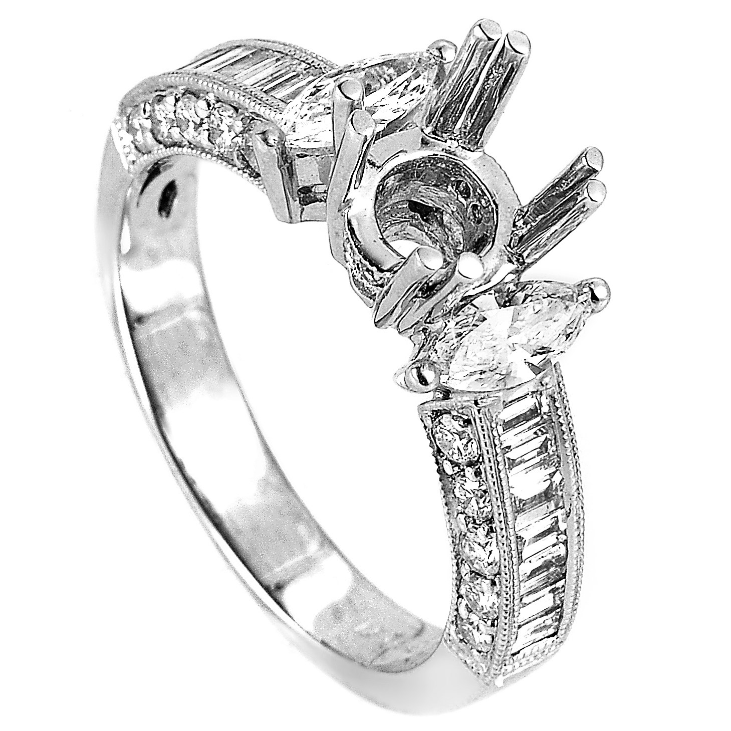 18K White Gold Diamond Mounting Ring EN8-12371
