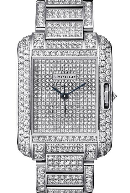 Tank Anglaise Medium (WG-Diamonds / WG-Diamonds / WG-Diamonds Bracelet)