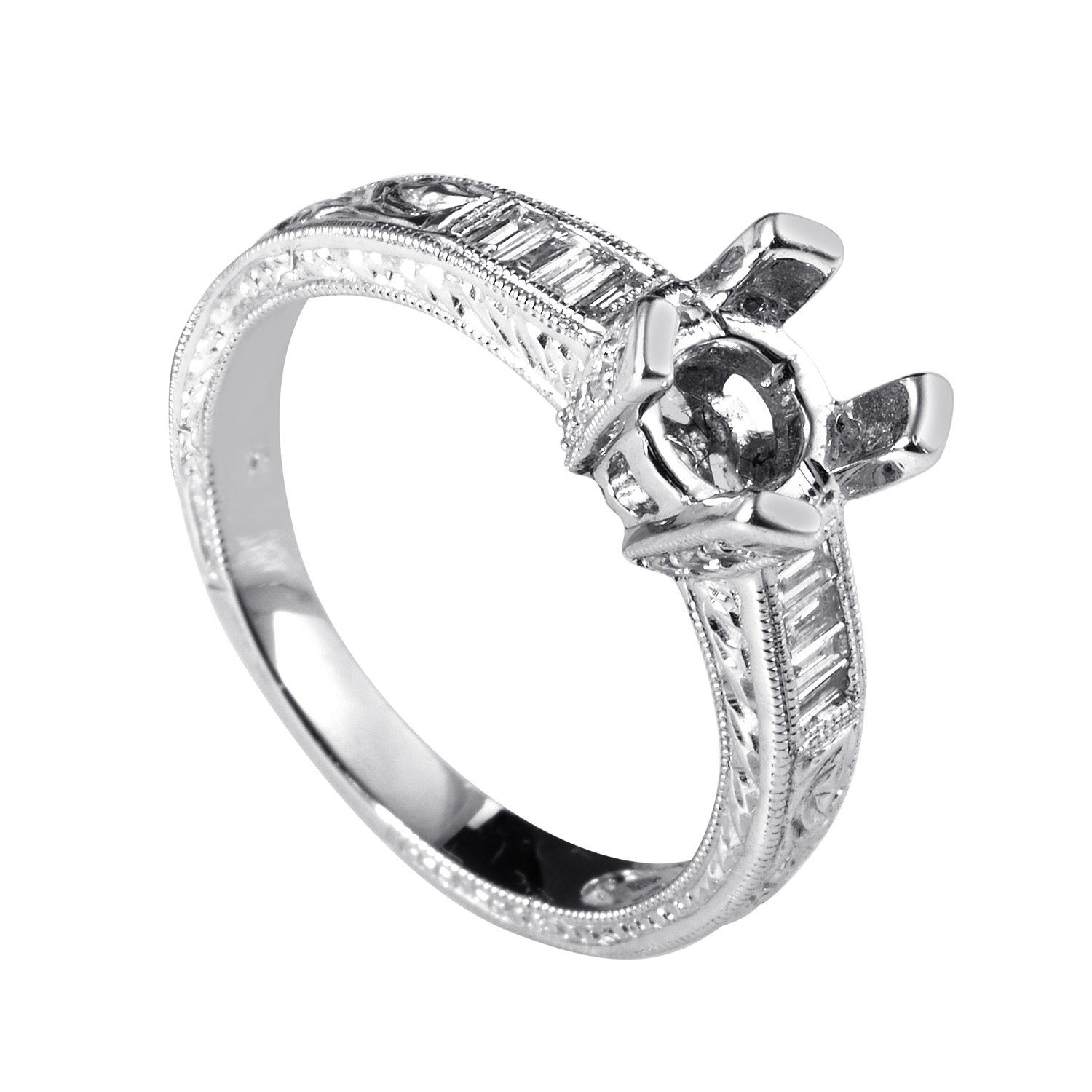 18K White Gold Diamond Engagement Ring Mounting EN8-031305W
