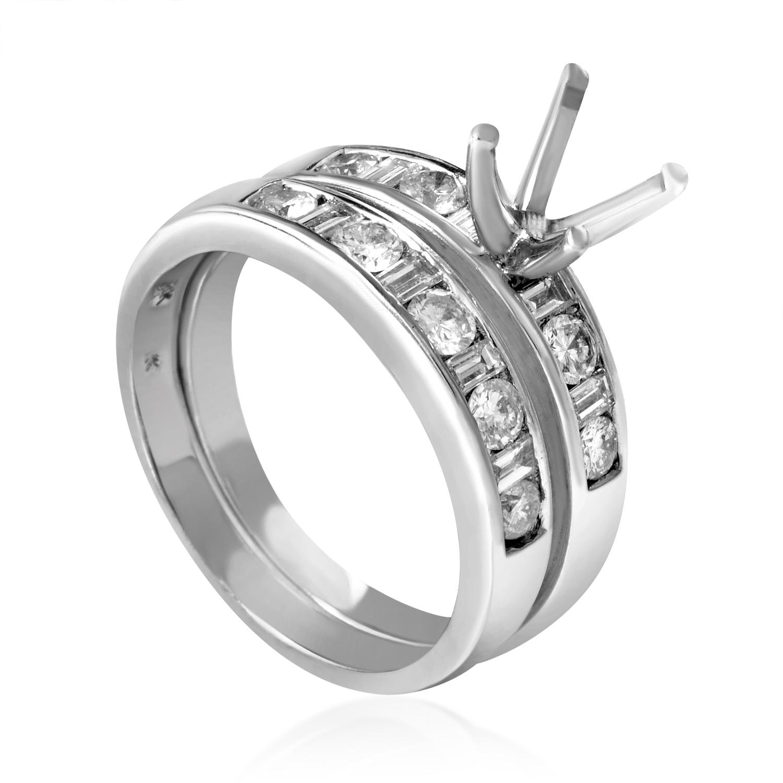 Women's 18K White Gold Diamond Bridal Mounting Set EN8-092556W
