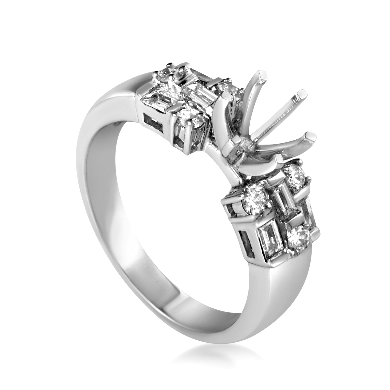 14K White Gold Diamond Engagement Ring Mounting SM4-051491W