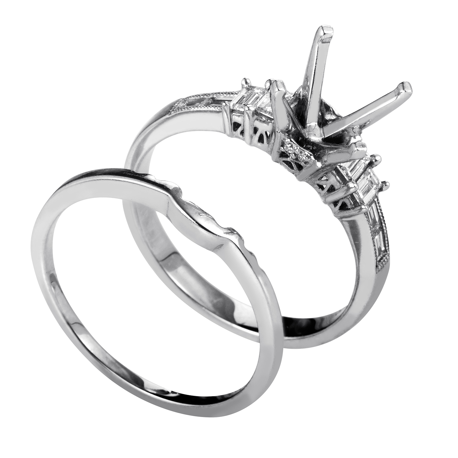 Women's 14K White Gold & Diamond Mounting Bridal Set SM-051634