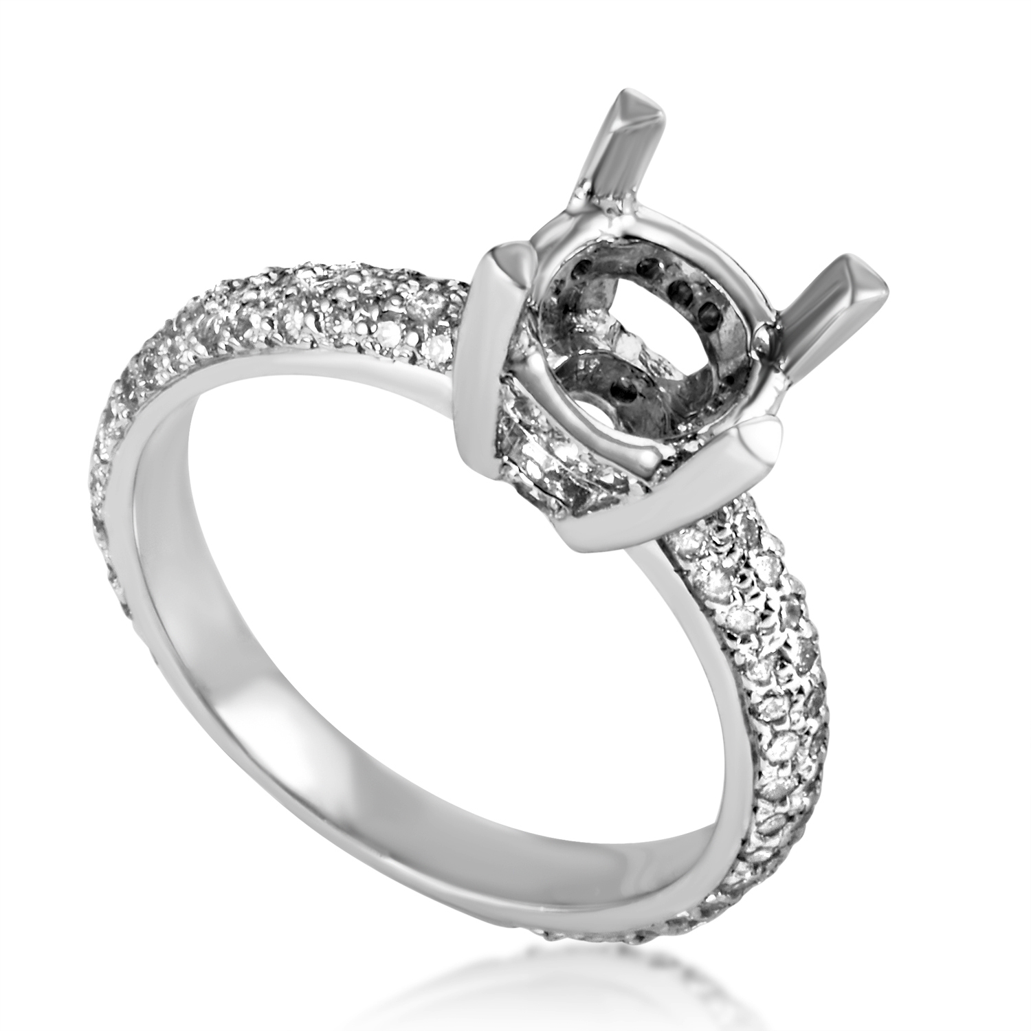 14K White Gold Diamond Engagement Ring Mounting SM4-062398W