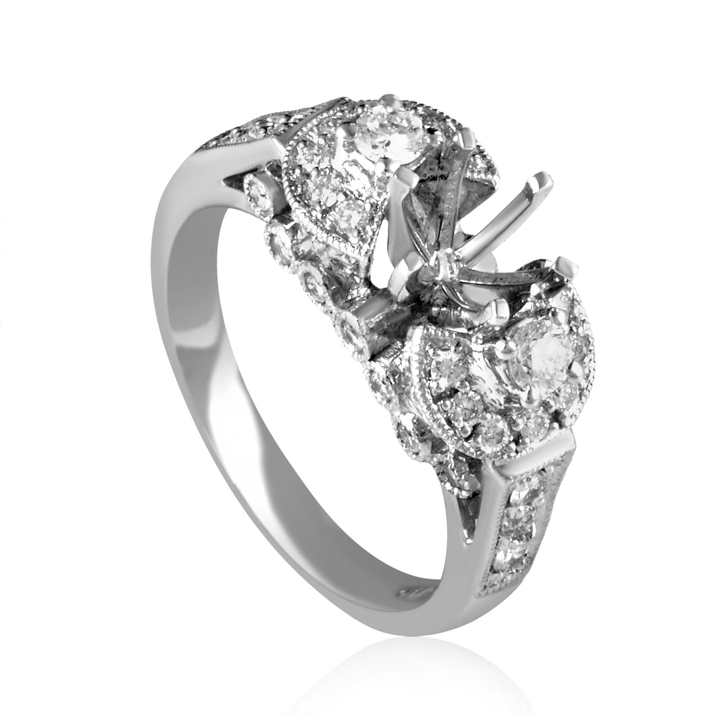14K White Gold Diamond Engagement Ring Mounting SM4-071632W