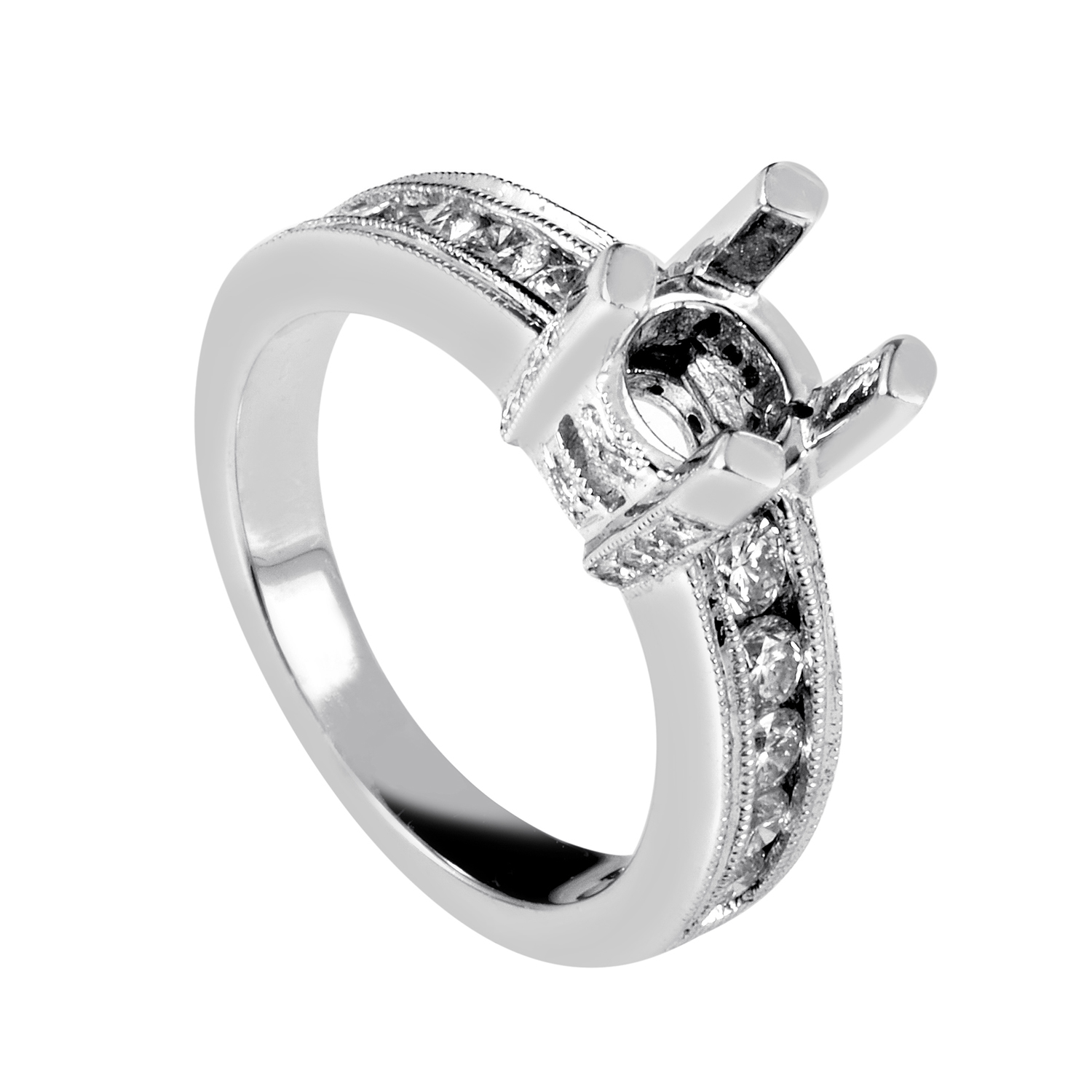 Women's 14K White Gold Diamond Engagement Ring Mounting SM4082000W