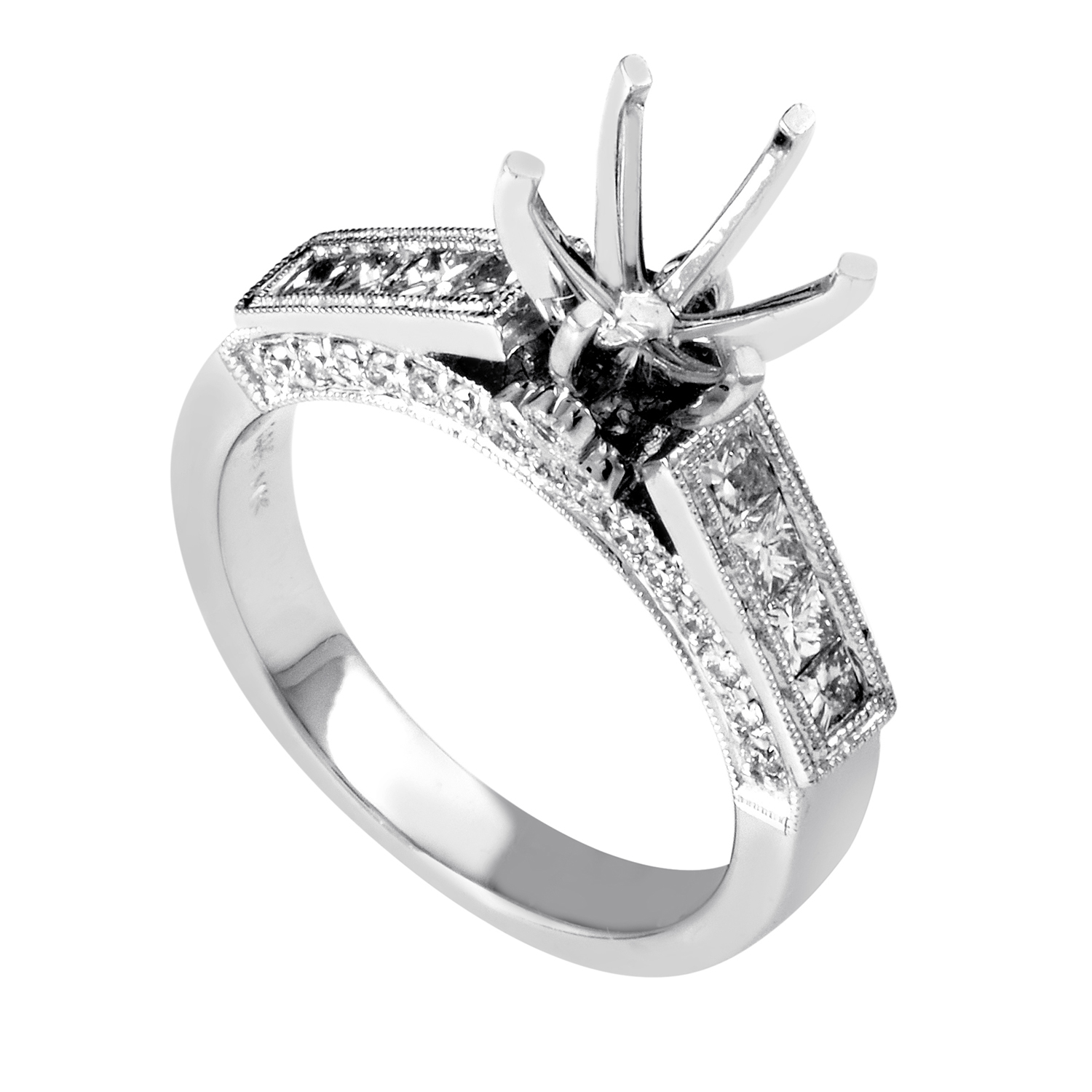 Women's 14K White Gold Diamond Engagement Ring Mounting SM4-092111W