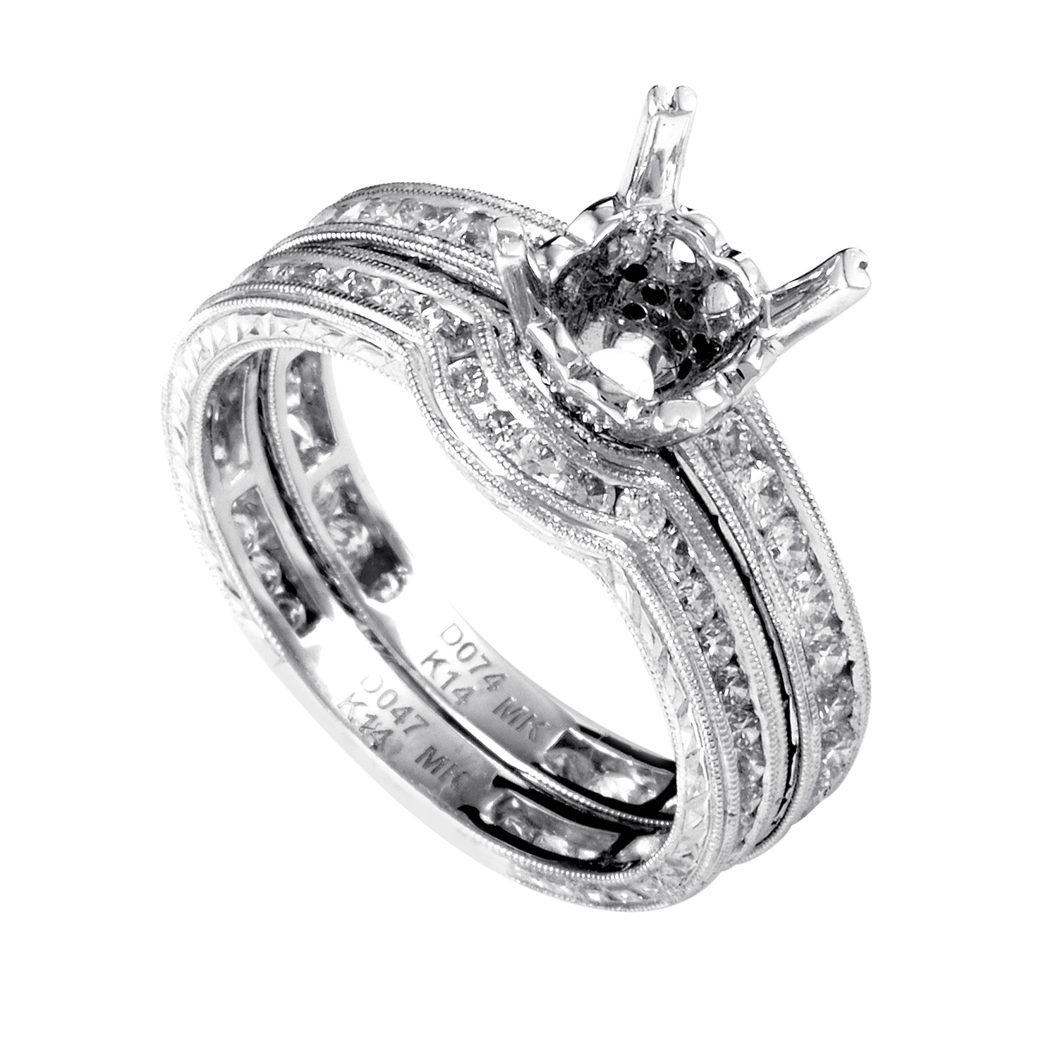 Women's 14K White Gold Diamond Bridal Mounting Set SM4-12465W