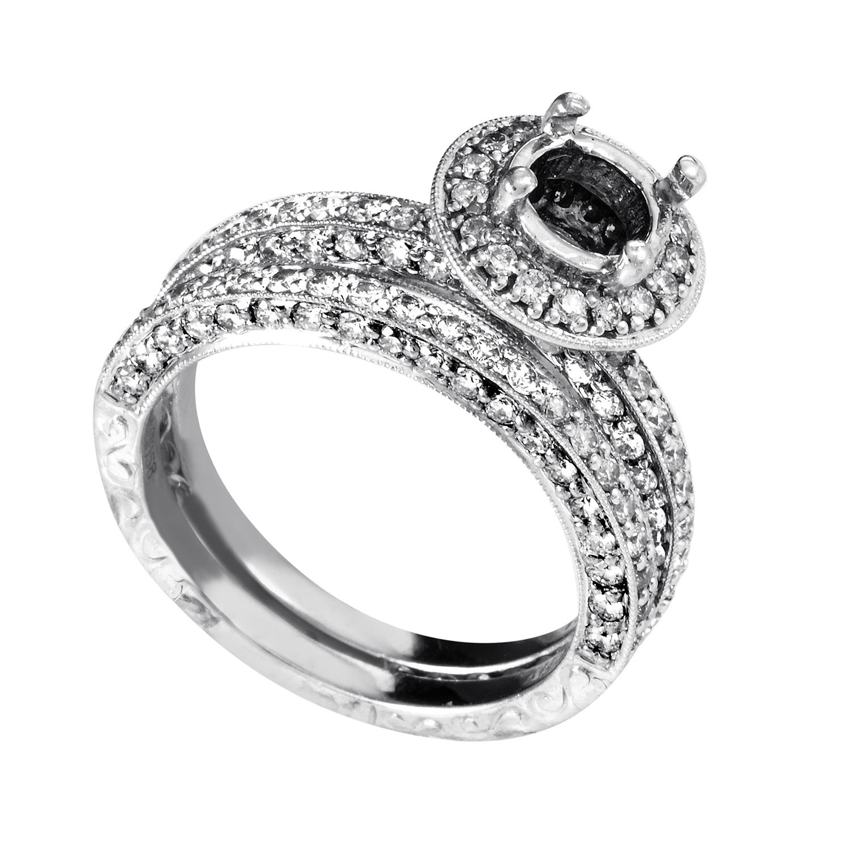 Women's 14K White Gold Diamond Bridal Mounting Set SM4-12930W