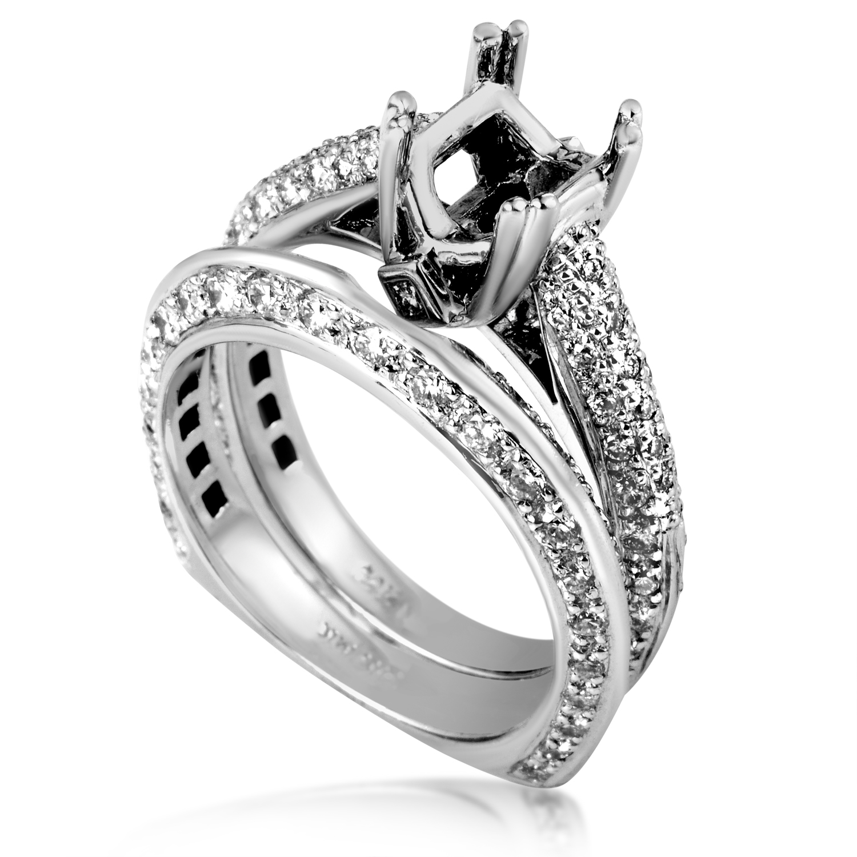 Women's 14K White Gold Diamond Bridal Mounting Set SM4-12968W