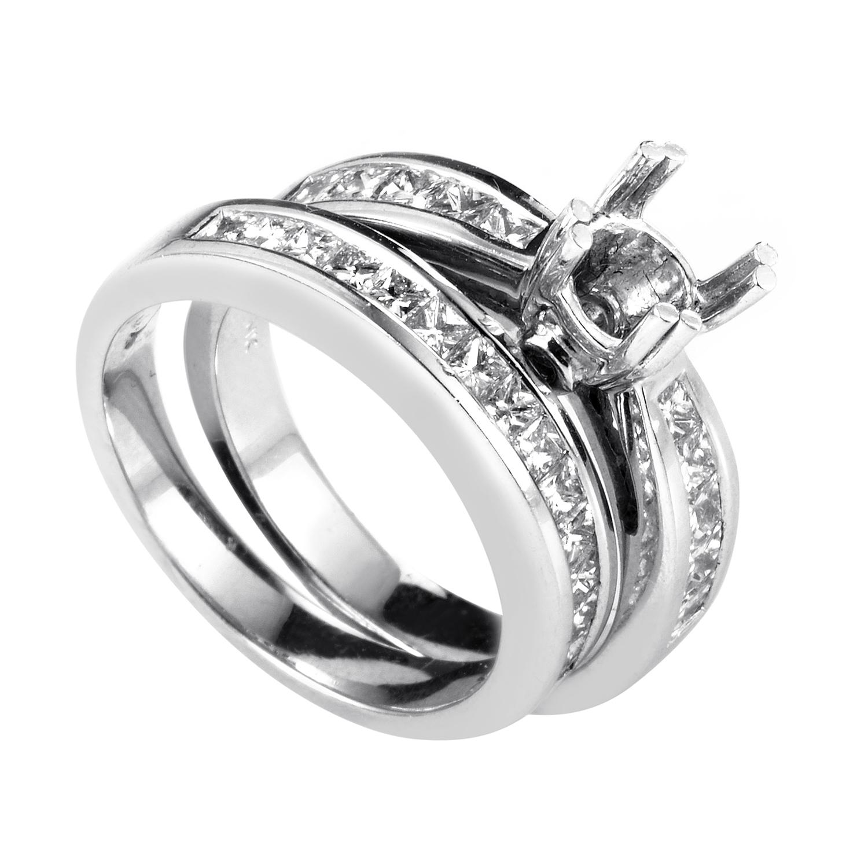 Women's 14K White Gold Diamond Bridal Mounting Set EN4-12013W