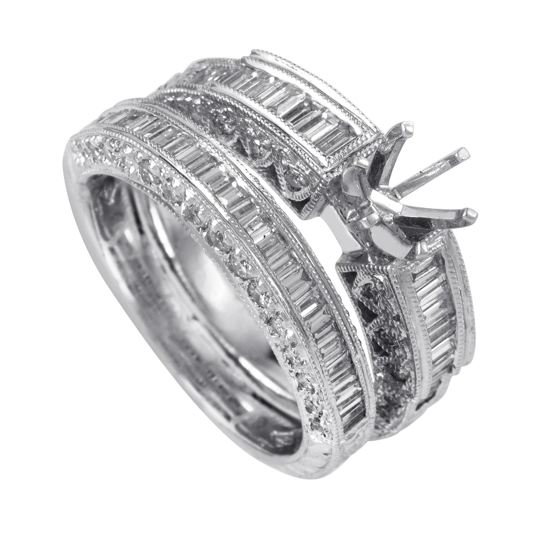 14K White Gold Diamond Bridal Mounting Set SM4-13433W