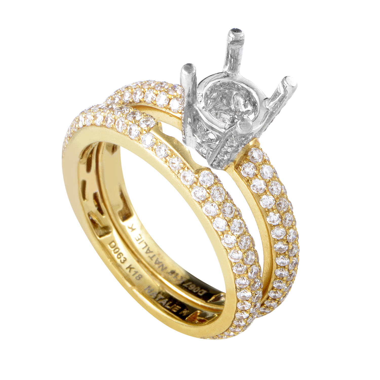Women's 18K Multi-Tone Gold Diamond Bridal Mounting Set SM8-13080Y