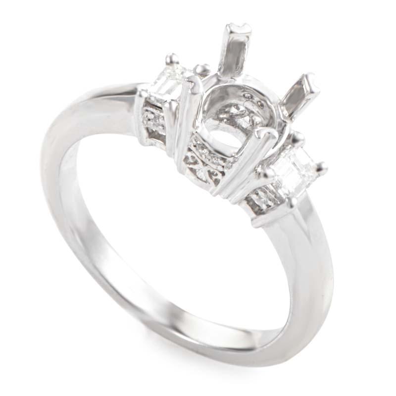 Platinum & Diamond Engagement Ring Mounting LBD-0649363NAK