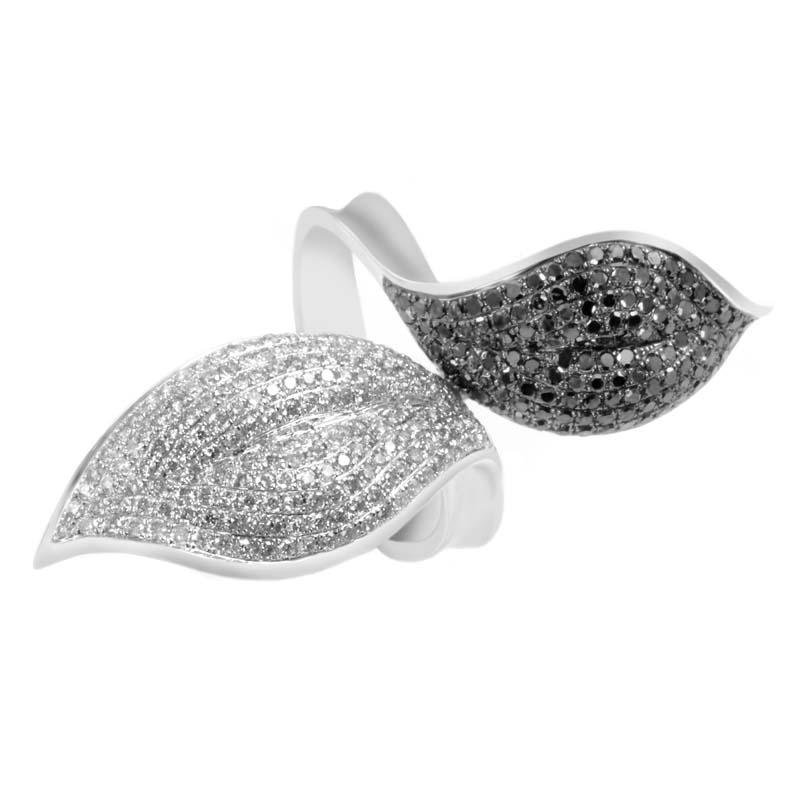 14K White Gold Black & White Diamond Pave Leaf Ring LF4-11840W
