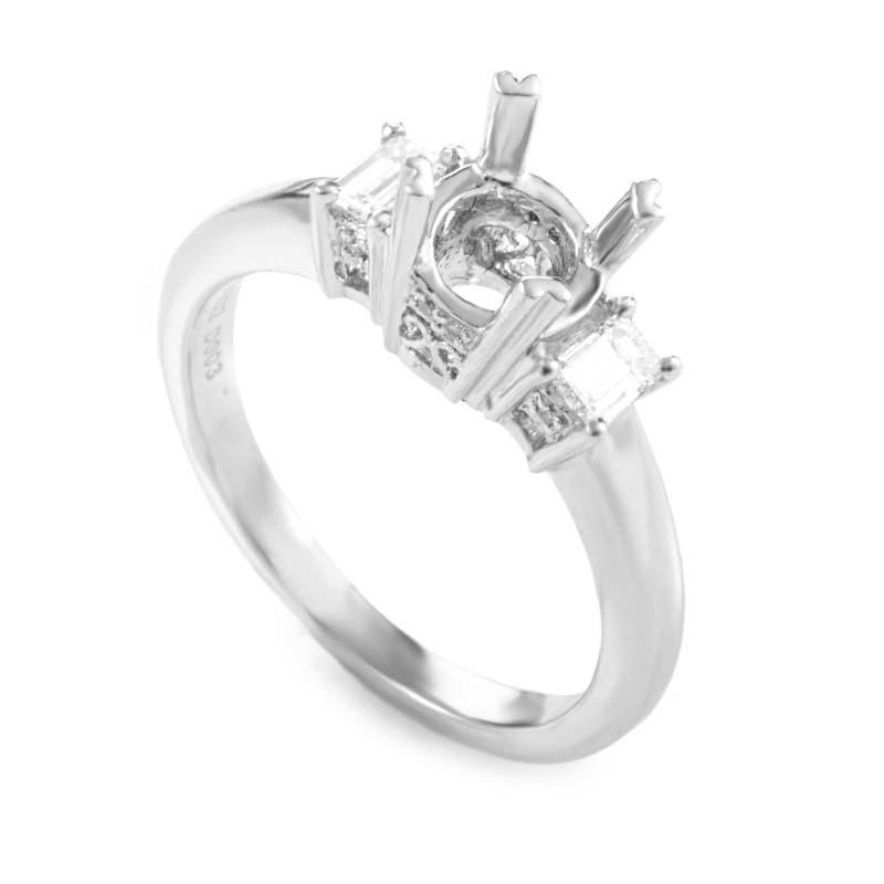 Natalie K Simplistic Platinum Diamond Mounting Ring NAK04-062813
