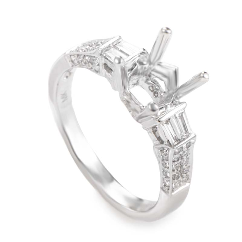 Natalie K Fabulous 14K White Gold Diamond Mounting Ring NAK39-062813