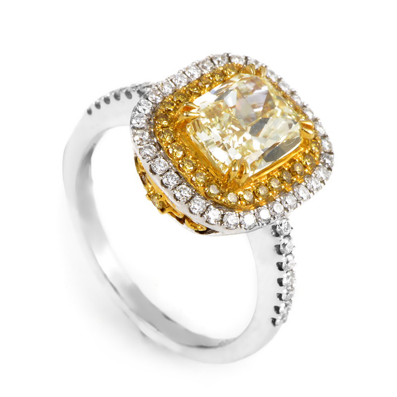 18K Multi-Gold Light Fancy Yellow Diamond Engagement Ring RE8-10068W