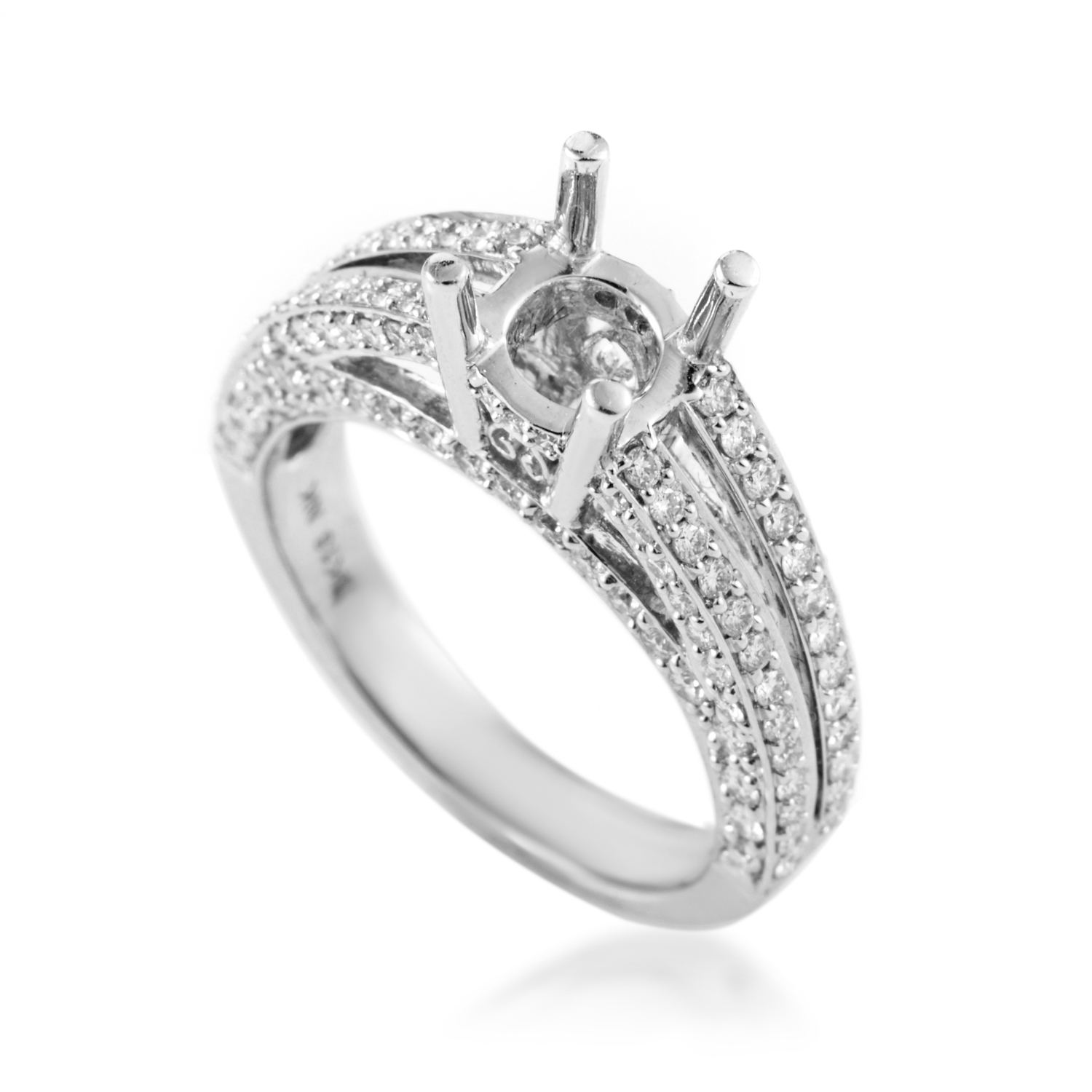 Women's 18K White Gold Diamond Engagement Ring Mounting RE8-10117W