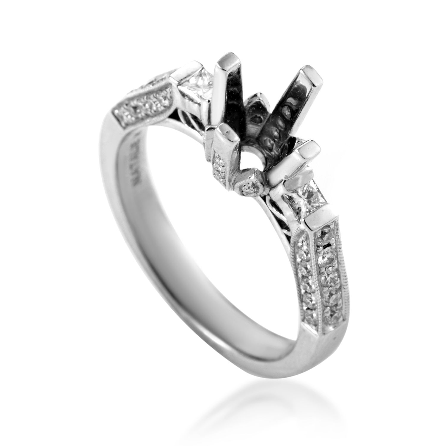 Women's 14K White Gold Diamond Engagement Ring Mounting SM4-041212W
