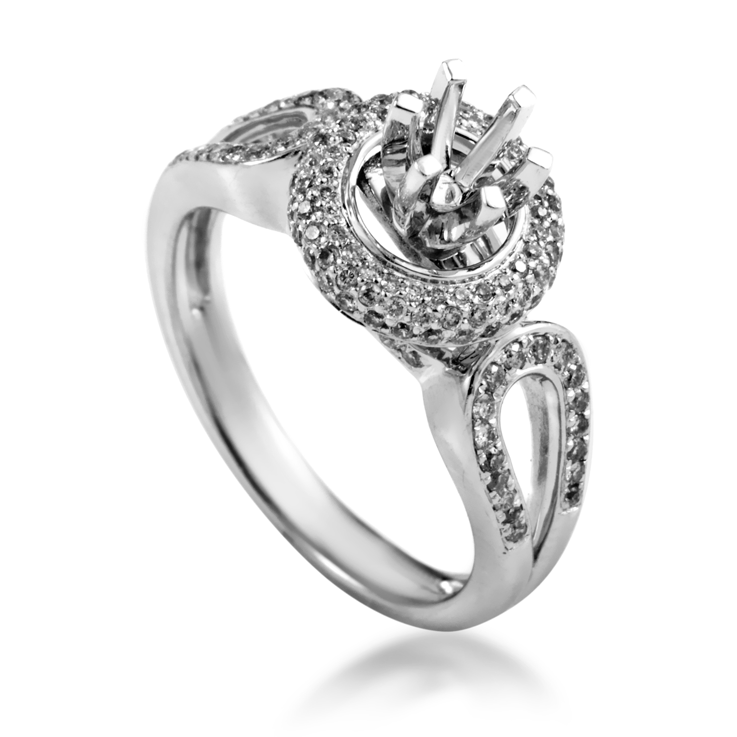 Women's 14K White Gold Diamond Engagement Ring Mounting SM4-051228W