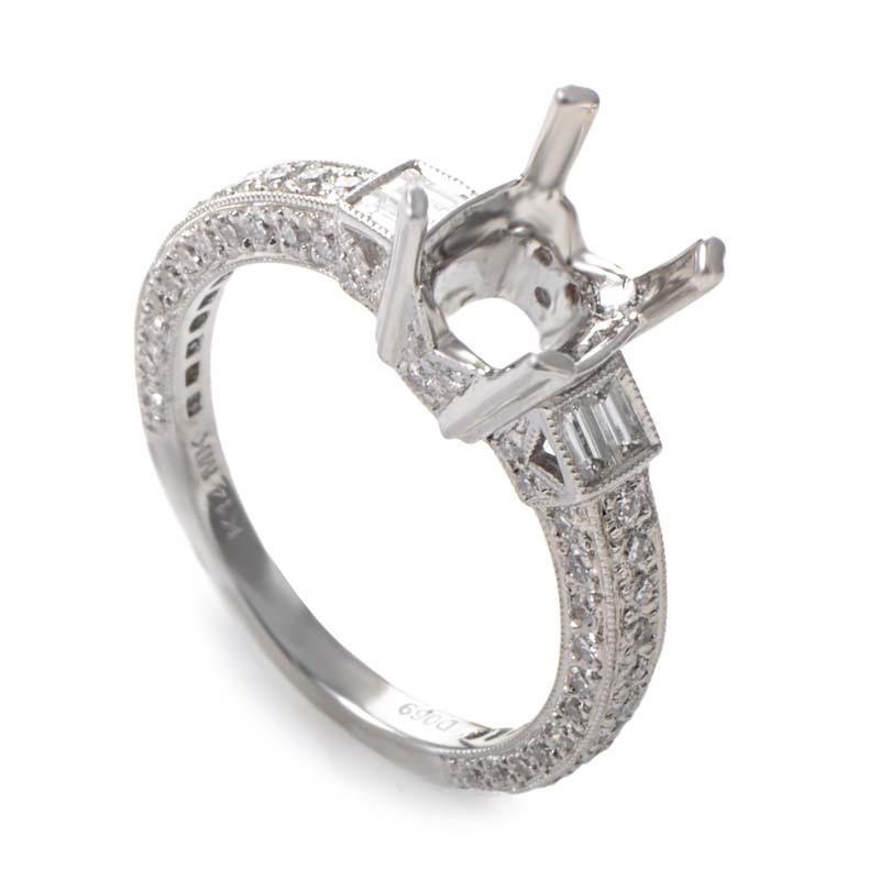 Natalie K. 14K White Gold Diamond Pave Mounting Ring SM4-071592