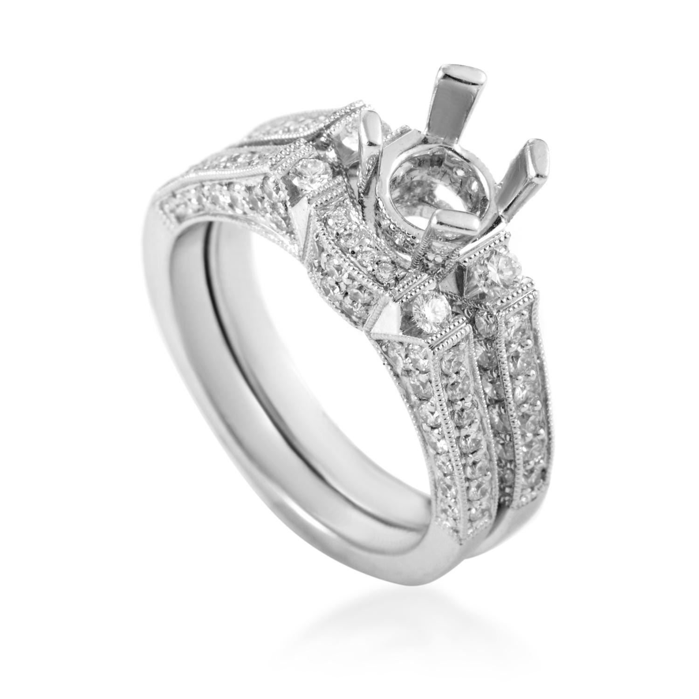 Women's 14K White Gold Diamond Bridal Mounting Set SM4-12625W