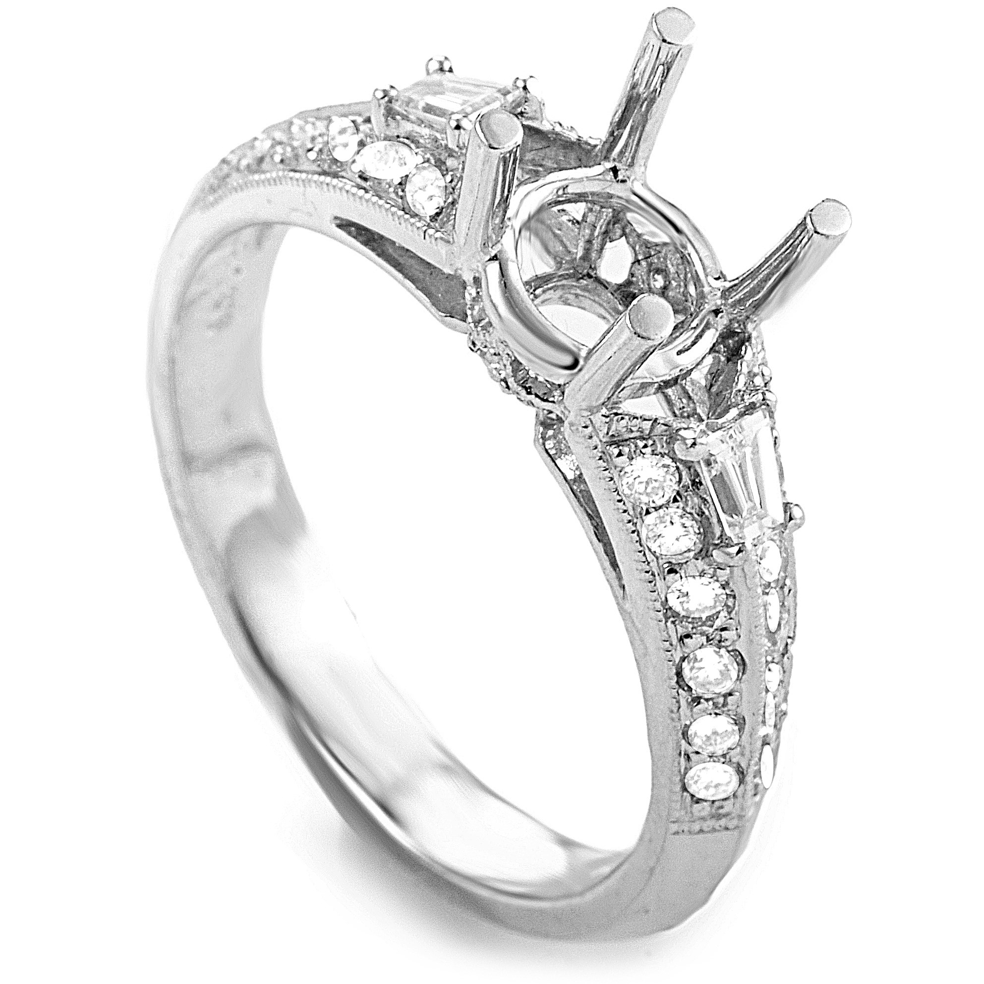 18K White Gold & Diamond Engagement Ring Semi-Mount SM8-041261W