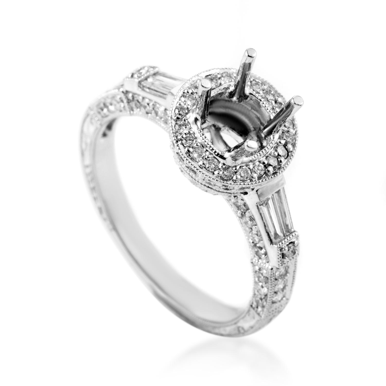 Women's 18K White Gold Diamond Engagement Ring Mounting SM8-071869W
