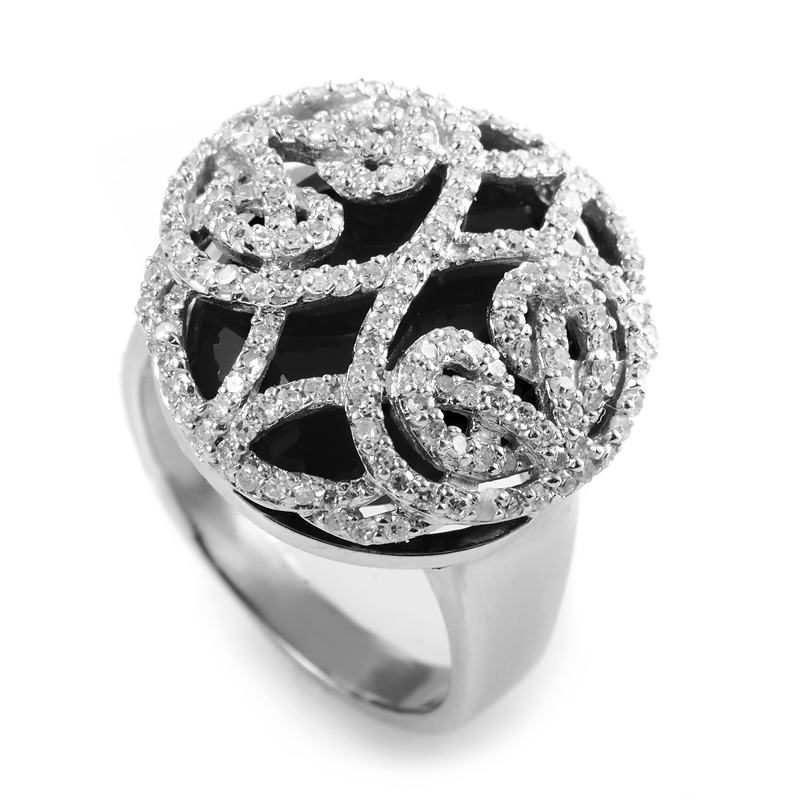 Nicole Miller 18K White Gold Diamond Filigree Onyx Ring
