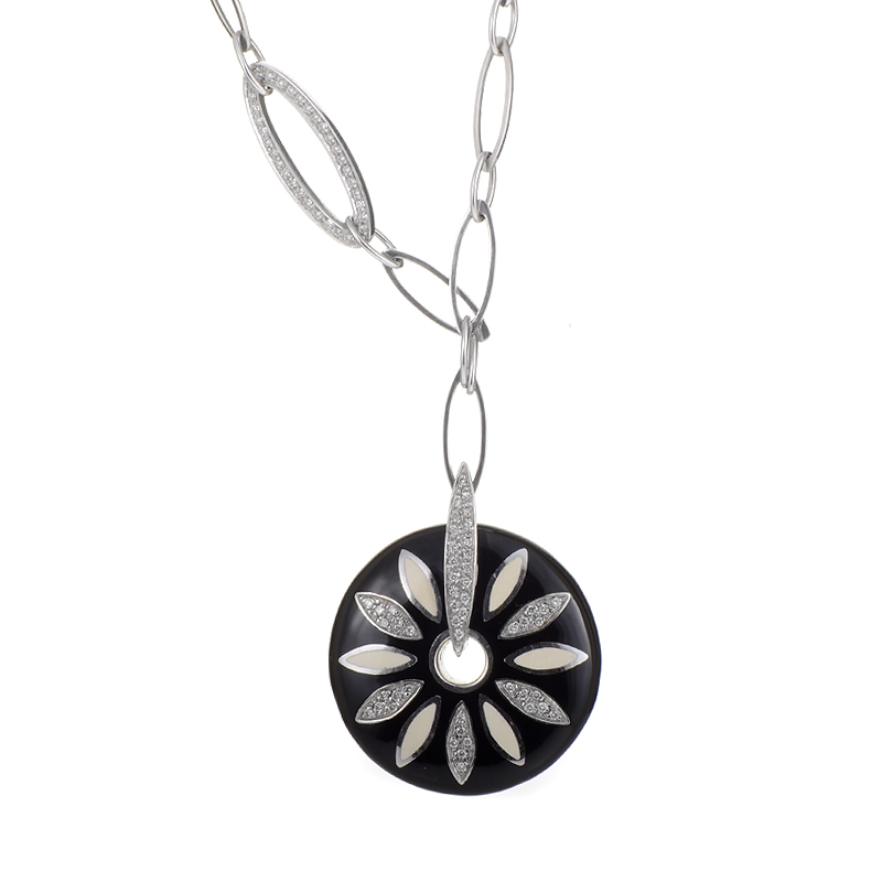 Nouvelle Bague 18K White Gold Diamond Daisy Pendant Necklace